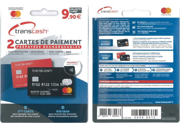 KIT 2 EN 1 CARTES TRANSCASH