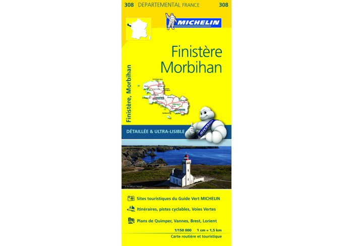 CARTE ROUTIERE MICHELIN FINISTERE/MORBIHAN