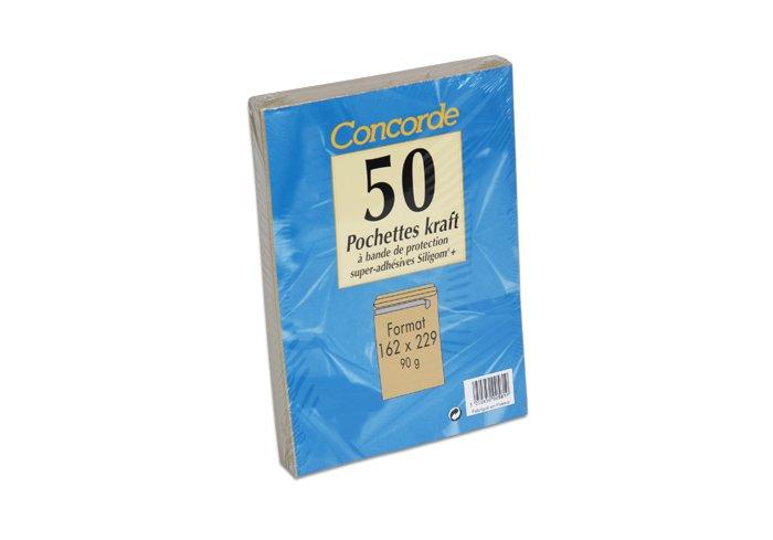 PAQUET 50 POCHETTES KRAFT 162X229