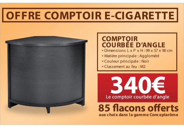 COMPTOIR D'ANGLE E-CIGARETTE + 85 FLACONS OFFERTS