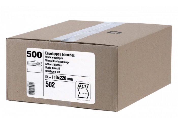CARTON DE 500 ENVELOPPES 110x220 MM FORMAT DL