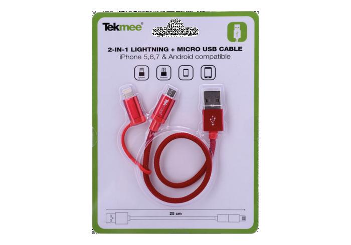 BOITE DE 12 CABLES 2 EN 1 IPHONE ET MICRO USB