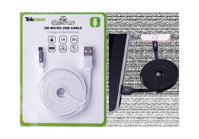 BOITE DE 24 CABLES 2M MICRO USB PLAT BLANC