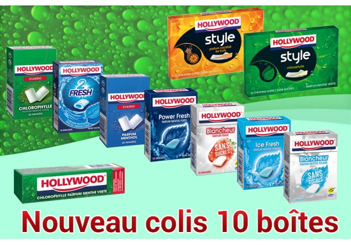 COLIS 10 BOITES HOLLYWOOD ASSORTIES
