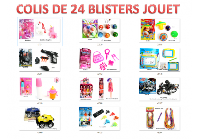 COLIS DE 24 BLISTERS DE JOUETS MIXTES ASSORTIS A PVP 3E