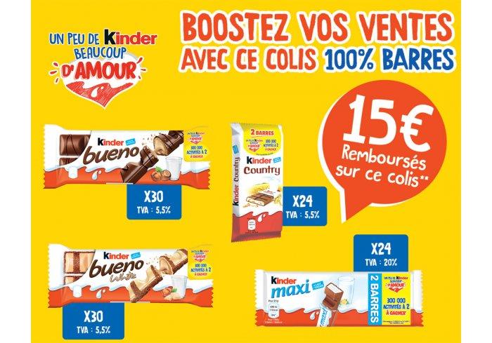 COLIS 4 BARRES KINDER + ODR 15€