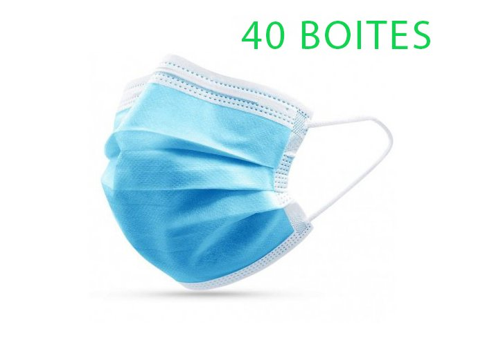 LOT DE 40 BOITES DE MASQUES JETABLES