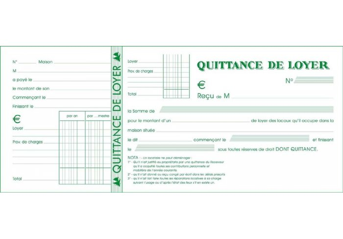 P.10 CARNETS QUITTANCE LOYER