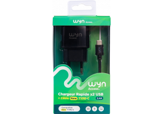 CHARGEUR SECTEUR + CABLE TYPE C