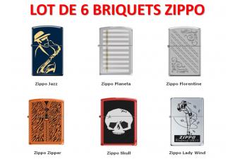 LOT DE 6 BRIQUETS ZIPPO ASSORTIS