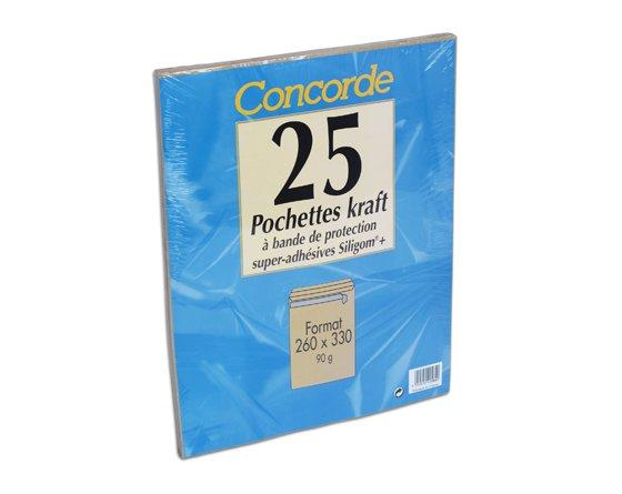 PAQUET 25 POCHETTES KRAFT 260X330